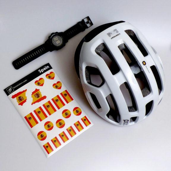 Bandera de España para bicicleta y casco