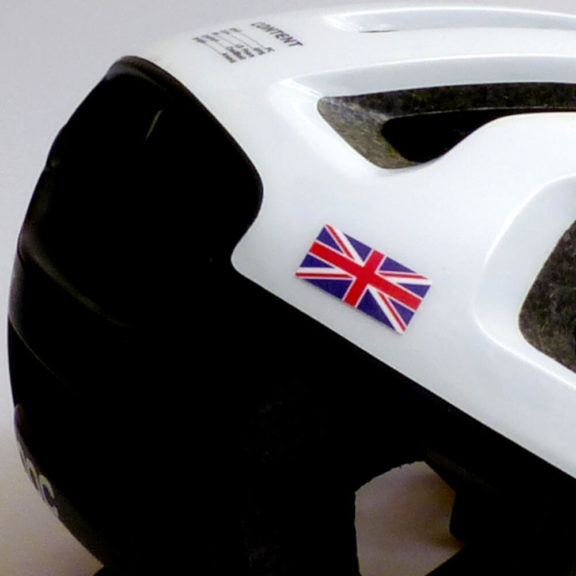 Bike helmet with UK flag sticker
