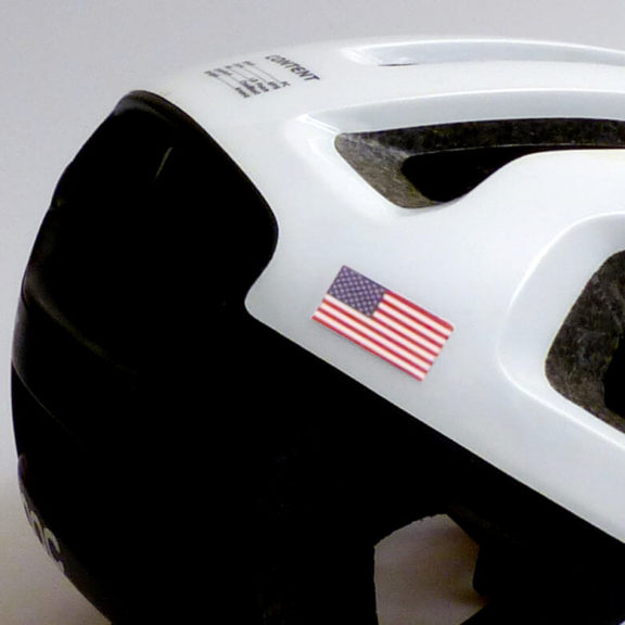 USA flag on bike helmet