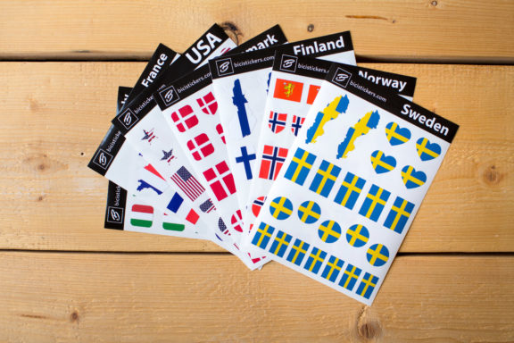 custom made bike stickers with name and country flag