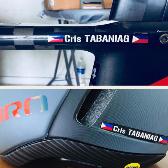 Bike name sticker with Malaysia flag on bike and helmet