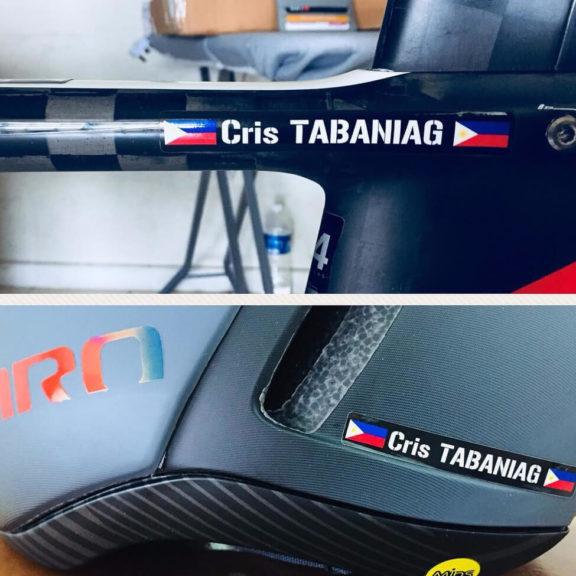 Fahrradaufkleber mit Namen und Flagge für Radrennen