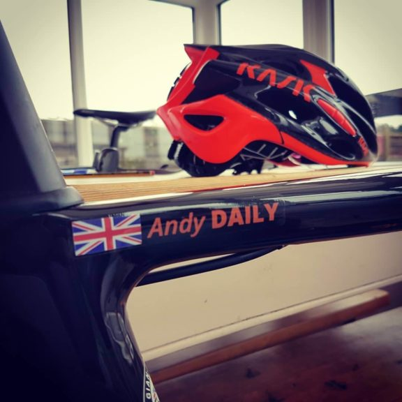 Name sticker with UK flag on frame and helmet