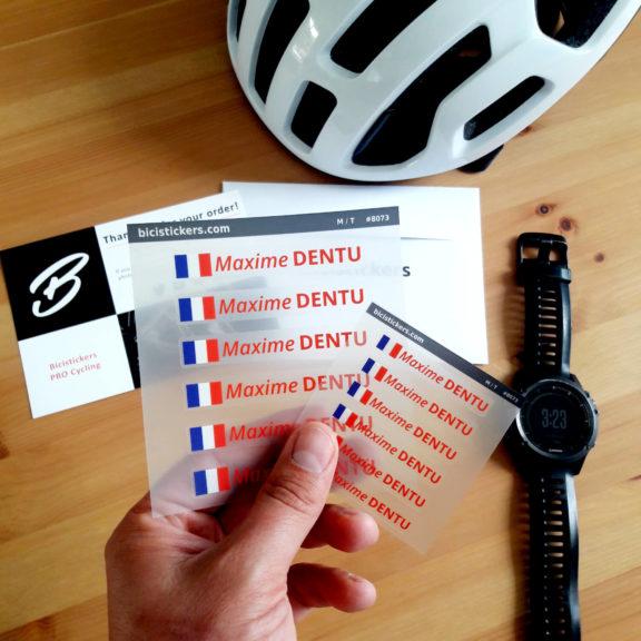 Autocollant nom personnalisé drapeau France pour Vélos