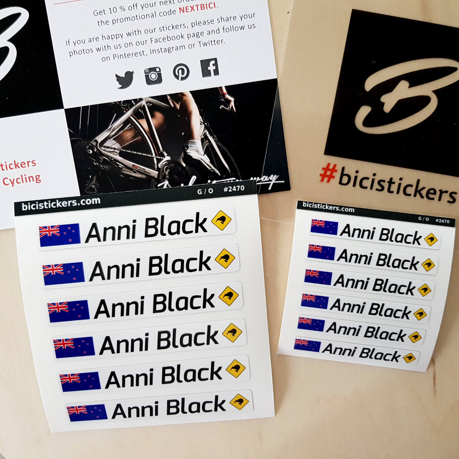 Bicycle name stickers with New Zealand flag