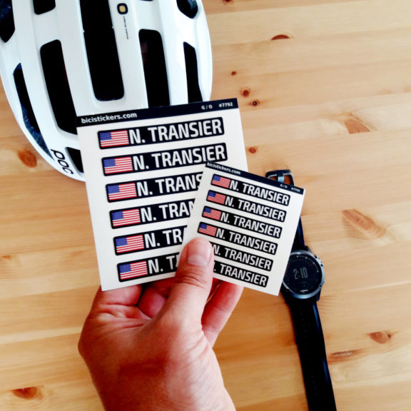Bike frame and helmet stickers with name and USA flag