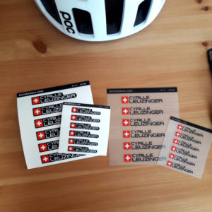 Bike name sticker with Swiss flag