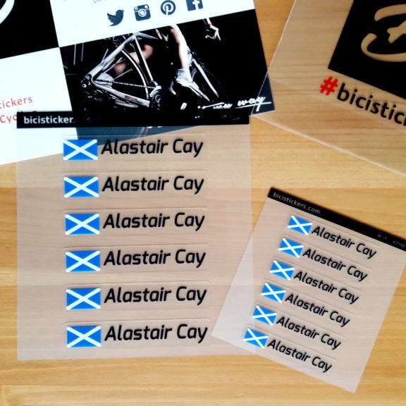 Custom name stickers for cyclists with Scotland flag