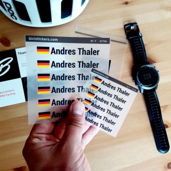 Namensaufkleber mit Deutschland Flagge fur Fahrrad