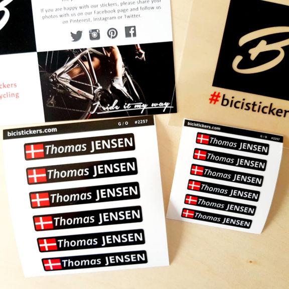 Navne klistermærker til cykel
