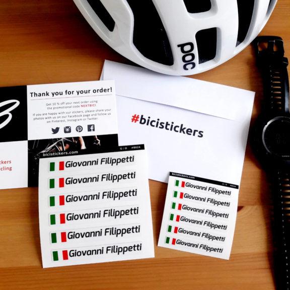 Nome cognome nominativo adesivo stickers bandiera italiana