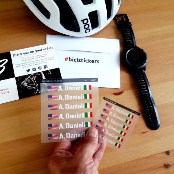 Nome e bandiera adesiva per bicicletta con bandiera italiana