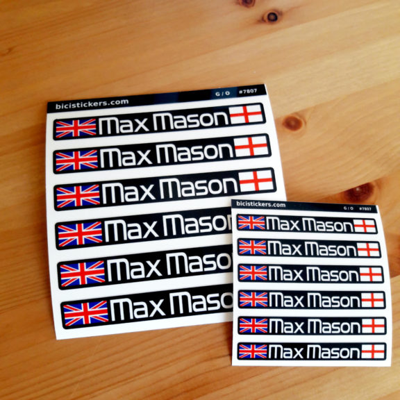 Personalized bicycle name sticker with UK and England flag for cyclists